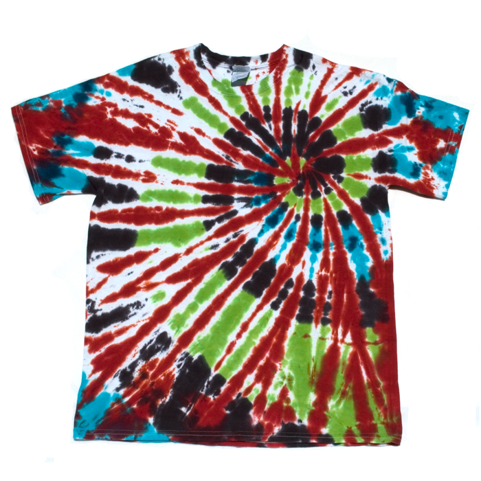 Red Green Blue And Black Large Tie Dye T Shirt Dark Star